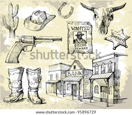hand drawn wild west set - stock vector