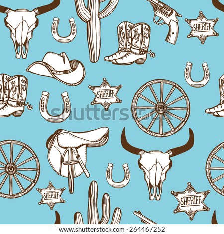 Hand drawn Wild West western seamless pattern. Cowboy hat, cowboy boots, gun, sheriff star, horseshoe, cactus, cow scull, wheel. - stock vector