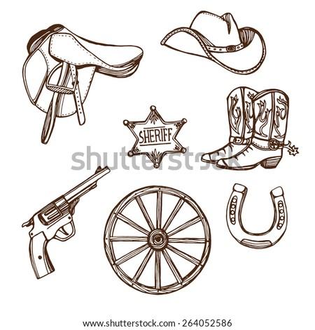 Hand drawn Wild West western set. Cowboy hat, cowboy boots, gun, sheriff star, horseshoe. White background - stock vector