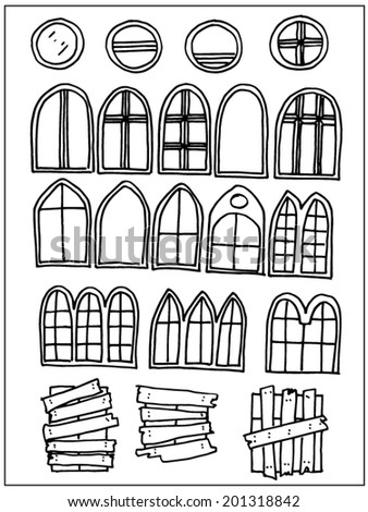 Hand drawn windows and fences isolated on white background - stock vector
