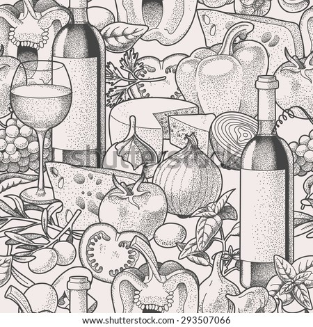 Hand drawn wine and vegetables seamless vector background - stock vector