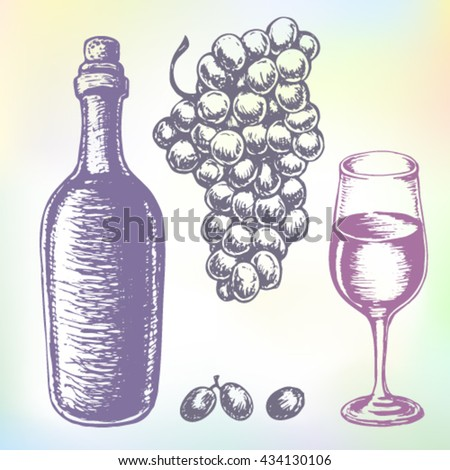 Hand-drawn wine vector. Grape wine or beverage drink set. Ink drawn grape wine illustration with wine, grape, wine bottle, wine glass, grapes, grape bunches, grape berries. - stock vector