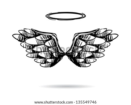Hand Drawn Wings. EPS 8 vector, grouped for easy editing. No open shapes or paths. - stock vector