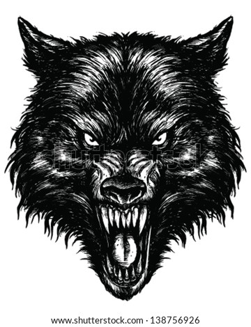 Hand Drawn Wolf Linework Vector - stock vector