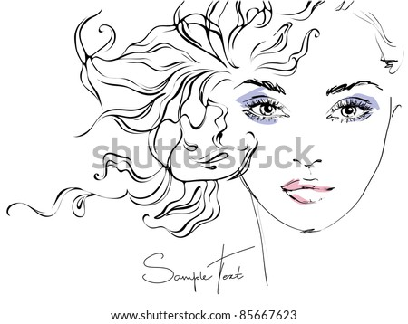 Hand-drawn woman's face. Fashion illustration - stock vector