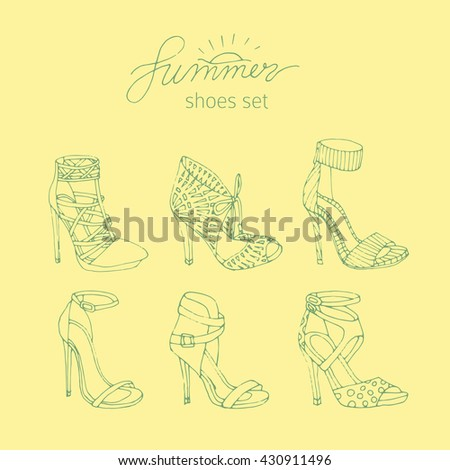 Hand drawn women's shoes silhouette set in summer colors.