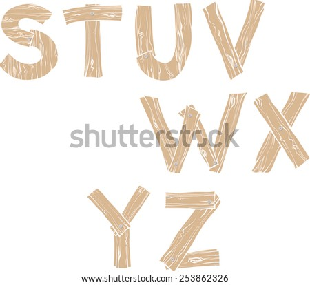 Hand-drawn wooden alphabet  with nails, S T U V W X Y Z - stock vector