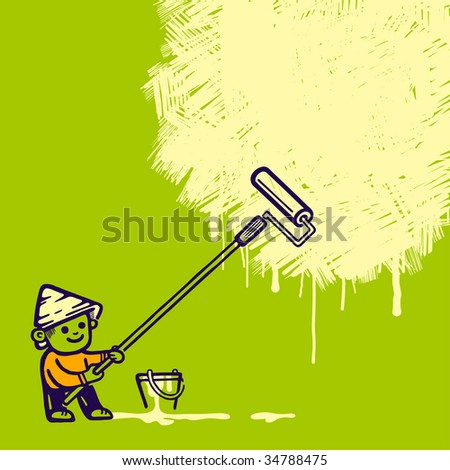 Hand-drawn worker covering wall. Vector illustration. - stock vector