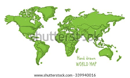 Hand drawn world map doodled with a childish cartoon style contouring the countries - stock vector