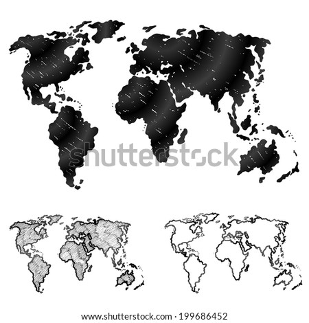 Hand drawn world map in three versions. Sketch of global map in doodle style. Qualitative vector (EPS-10) graphics for geography, mapping, tourism, navigation, cartography, etc. It has only gradients - stock vector