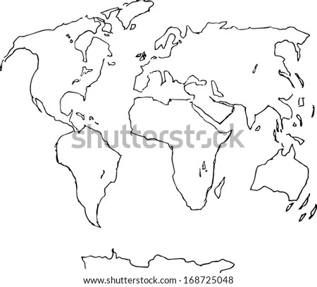 Hand drawn world map vector stock vector 168725048 shutterstock hand drawn world map vector gumiabroncs Images