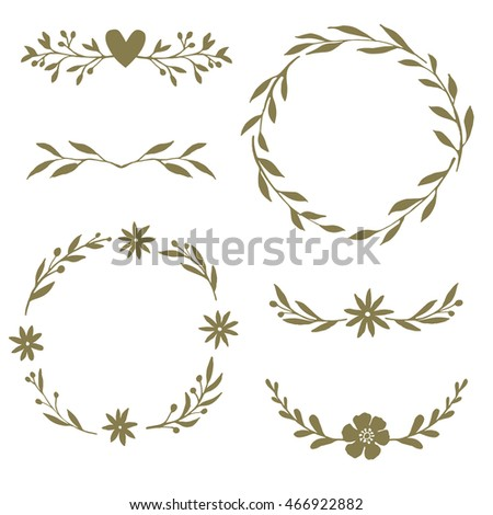 Hand drawn wreaths and dividers