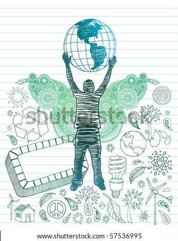 Hand drawn youth with globe over head and environmental doodles - stock vector