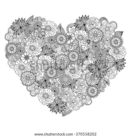 Hand drawn zentangle doodle illustration for adult coloring books in vector. Unique lacy floral doodles for your design. - stock vector