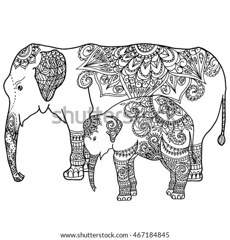 hand drawn zentangle elephant family mandala stock vector 467184845