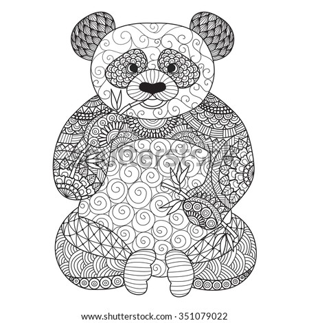 Hand Drawn Zentangle Panda Coloring Book Stock Vector (Royalty Free ...