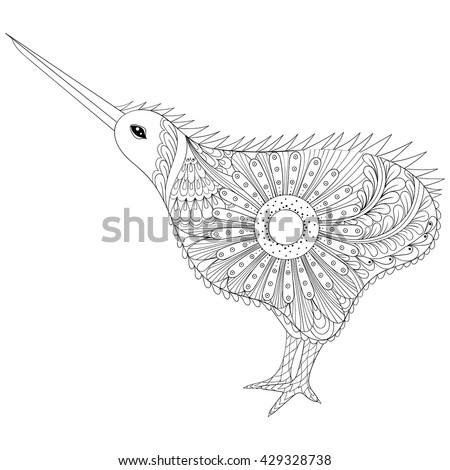 Hand drawn zentangle tribal kiwi bird stock vector for Kiwi bird coloring page