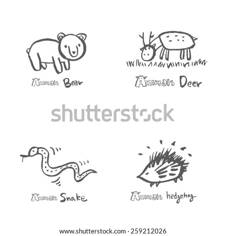 Hand drawn ZOO illustration - animal sketch set - vector - stock vector