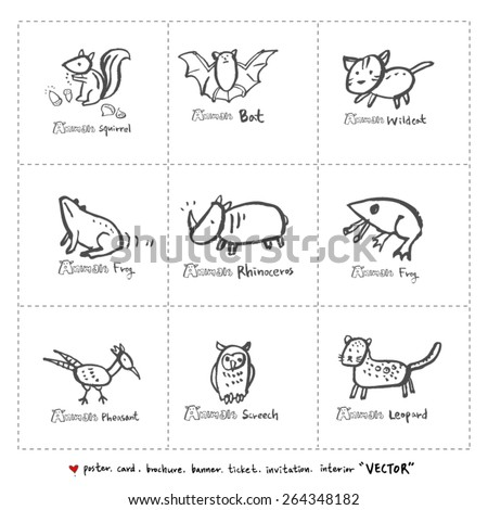 Hand drawn ZOO illustration - animal sketch - vector