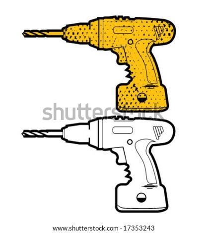 Hand Drill Illustration - stock vector