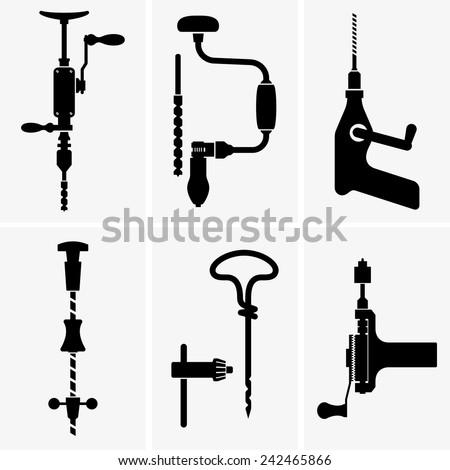 Hand drills - stock vector
