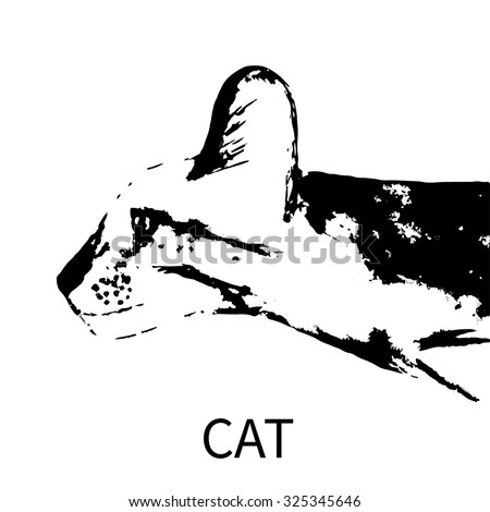 Hand drown cat profile. Vector illustration