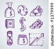 hand drown money symbols - stock vector