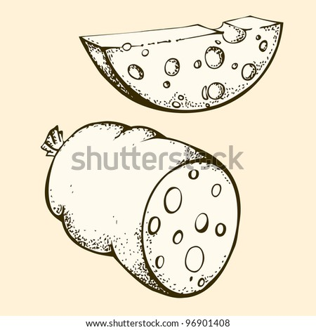 Hand-drown sausage and cheese - stock vector