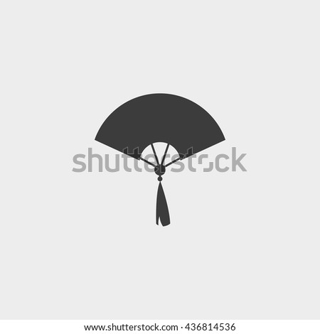 Hand fan icon in a flat design in black color. Vector illustration eps10 - stock vector