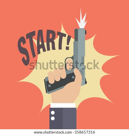 Hand firing a gun with start word. Business startup concept - stock vector