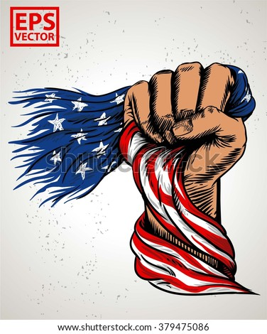 HAND FIST AMERICAN FLAG OR ILLUSTRATION PRINT AND BACKGROUND VECTOR - stock vector