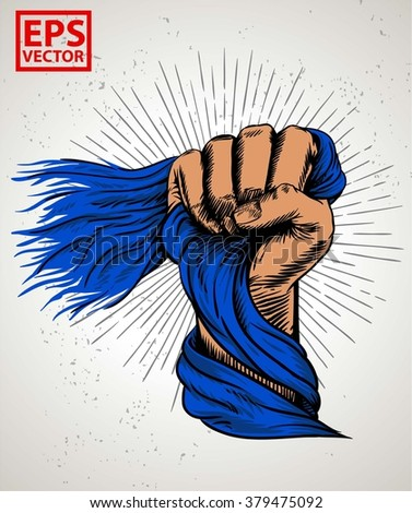 HAND FIST OLD FLAG OR ILLUSTRATION PRINT AND BACKGROUND VECTOR - stock vector