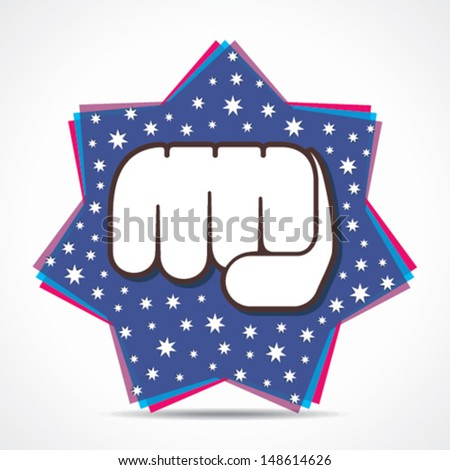 hand fist on star background vector - stock vector
