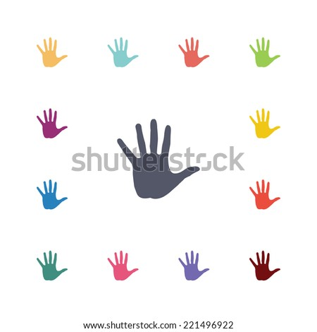hand flat icons set. Open round colorful buttons. Vector  - stock vector
