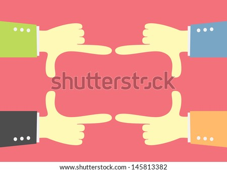 hand focus square frame - stock vector