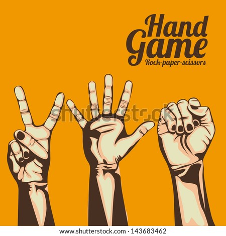 hand game over orange background vector illustration - stock vector