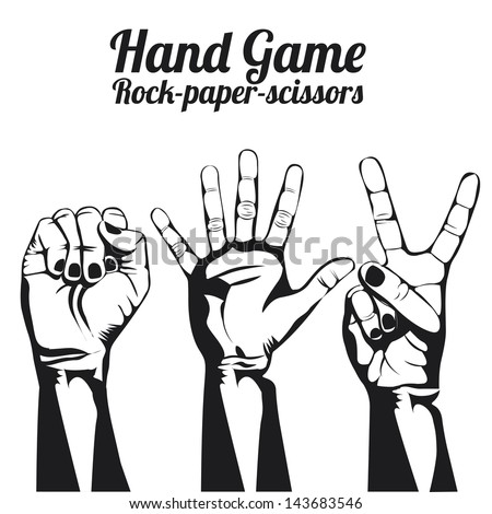 hand game over white background vector illustration - stock vector
