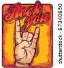 hand gesticulate. rock n roll sign. vector - stock photo