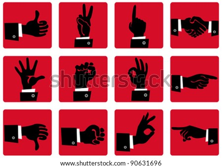 Hand gesture icons - stock vector