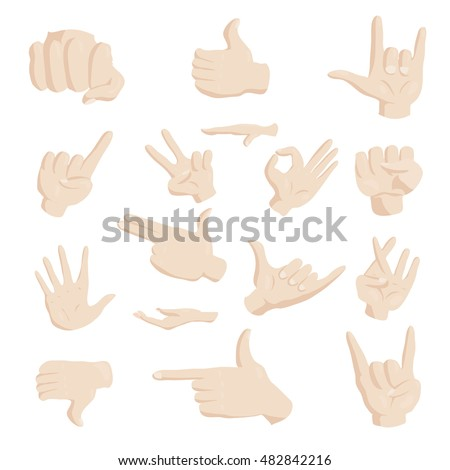 Hand gesture icons set in cartoon style. Finger language set collection vector illustration