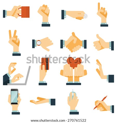 Hand gestures flat icons set expressing victory rejection and love with heart symbol abstract vector isolated illustration - stock vector