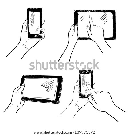 Hand gestures holding smartphone tablet touchscreen sketch set isolated vector illustration - stock vector