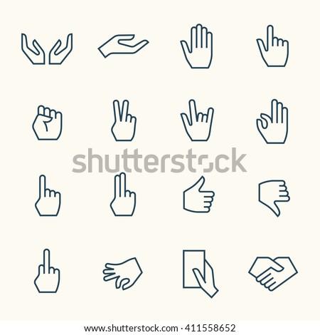 Hand gestures line icon set - stock vector