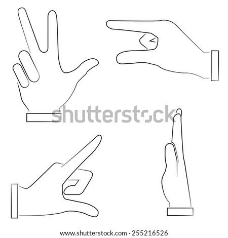 hand gestures set, sketch hand sign - stock vector