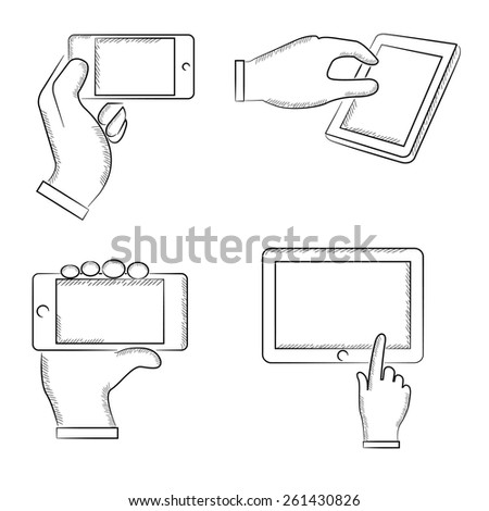 hand gestures, sketch hand with mobile phone and tablet, vector hands - stock vector
