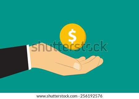 Hand give money flat design. - stock vector