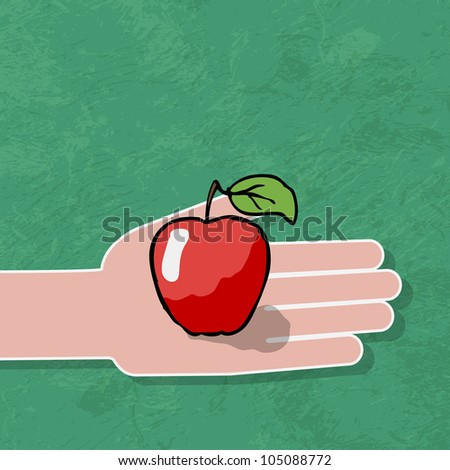 hand gives a red apple - stock vector
