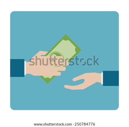 hand gives money flat icon - design element - stock vector