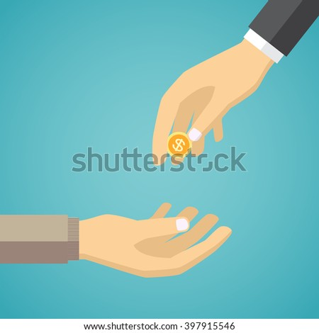 Hand giving golden coin to another hand. Charity concept in flat style. - stock vector