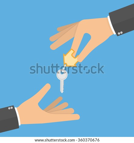 Hand giving house keys to another hand. Receiving house keys concept. Flat design - stock vector